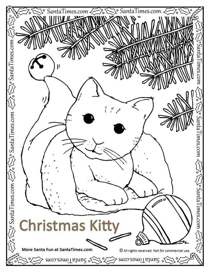 christmas kitty coloring page color this happy happy