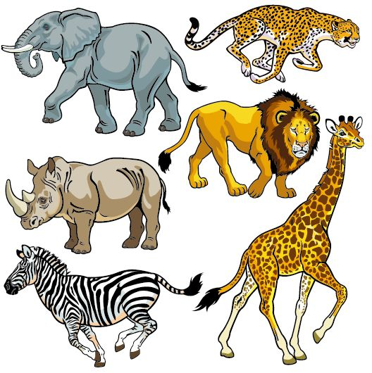 Vector set of wild animals design graphic 05 free