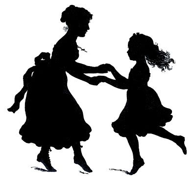 Click on Image to Enlarge This is another darling Silhouette Vector Image from an 1870's book in my collection! Shown above are a Mother and Daughter holding hands, they appear to be Dancing. Such a charming Graphic, I think it would work really well for your Mother's Day Projects. You can Download the Zip File …