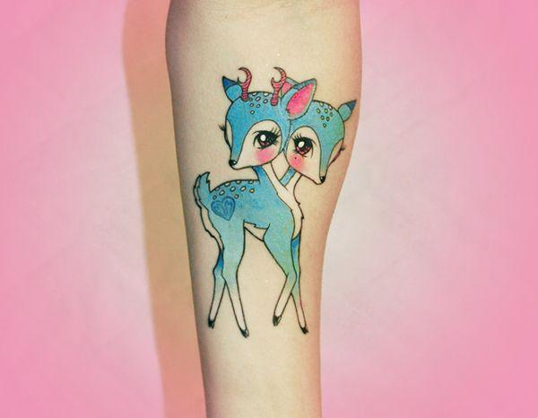 Cute two headed deer tattoo <3