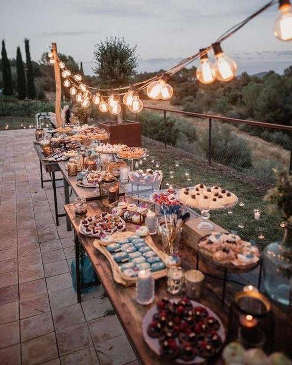 Country Rustic Wedding Reception Food Bar Ideas Rustic Wedding Reception Lights Wedding Decor Wedding Lights