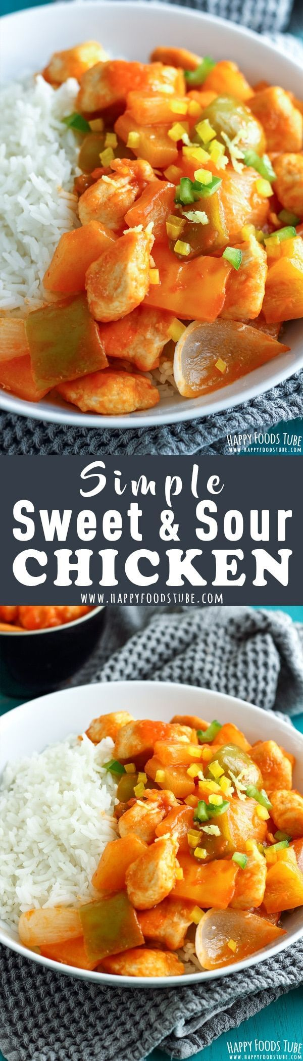 This simple sweet and sour chicken dinner is the perfect weeknight meal. Juicy chicken pieces with pineapple and peppers are ready on your table in 30 minutes!