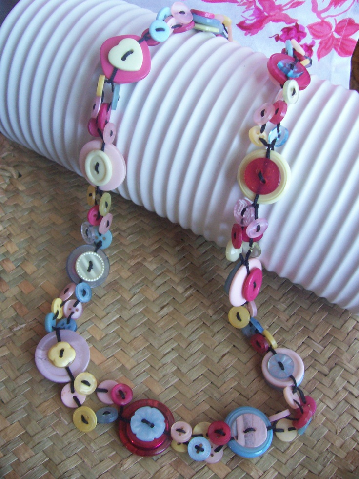 Shabby Chic Button Necklace by Bubbles Buttons #button #necklace