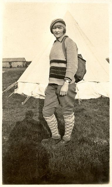 Camping 1930s Style. knickers knee socks sweater hat shoes found photo