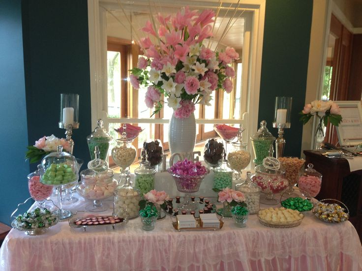Pale Pink, Green and White Wedding Candy Buffet with a vintage feel. This gorgeous candy buffet was set up at Immerse Winery in the Yarra Valley, Melbourne.