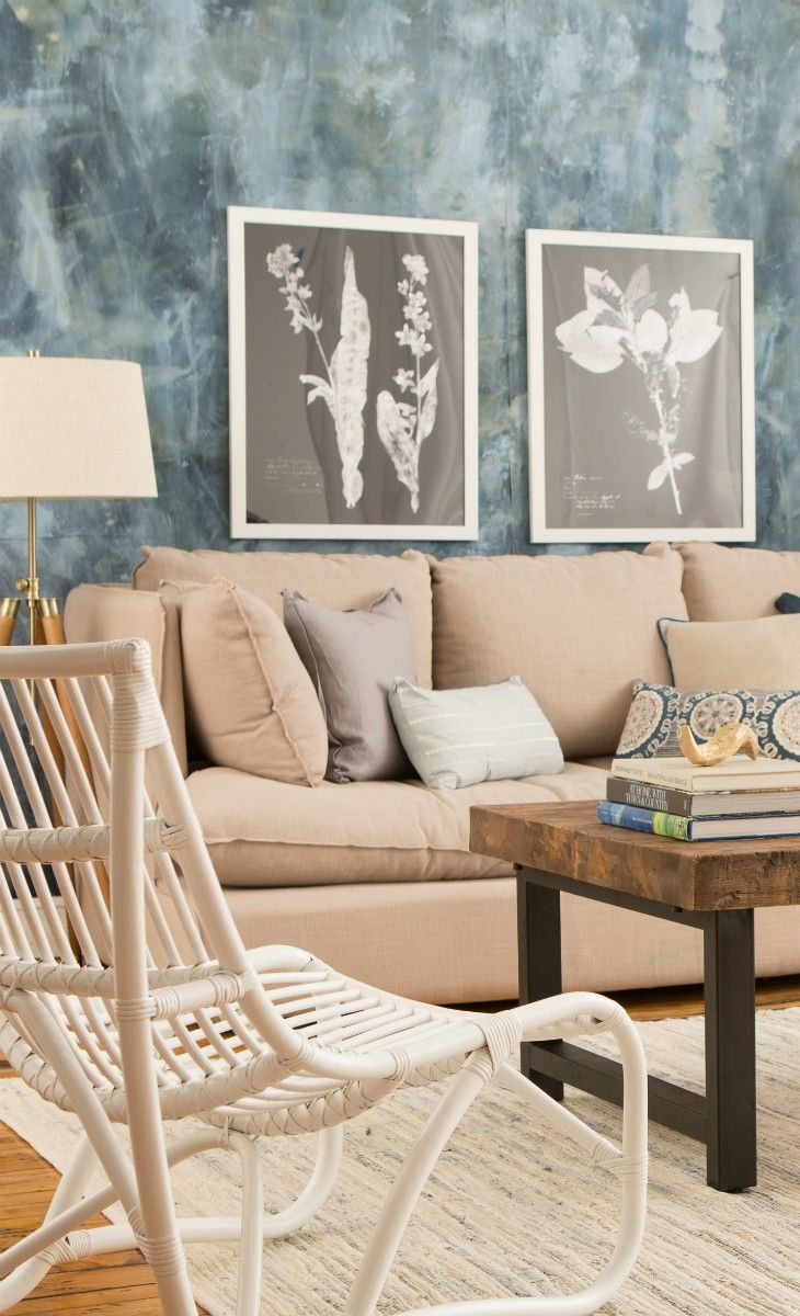marbled wall effects with clean floral art prints - nice look