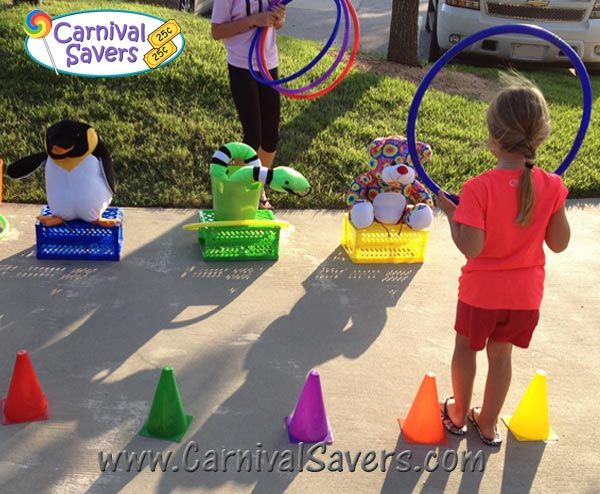 School Carnival Game - Hoop-a-Toy! DIY and SUPER EASY to set up and can be played indoors or out!