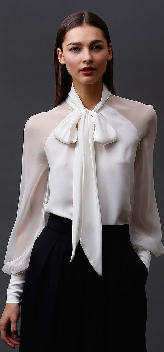 Best 25  Sheer blouse ideas on Pinterest | Work blouse, Tie neck ...