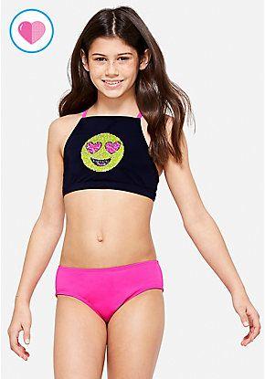 f37efe3081769 Emoji Flip Sequin Bikini | Justice new do | Bikinis, Sequin bikini