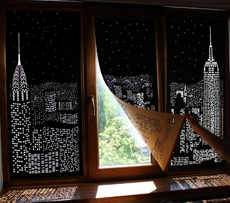 """Hole Roll"": blackout curtains with trompe l'oeil cityscapes cut into them / Boing Boing"