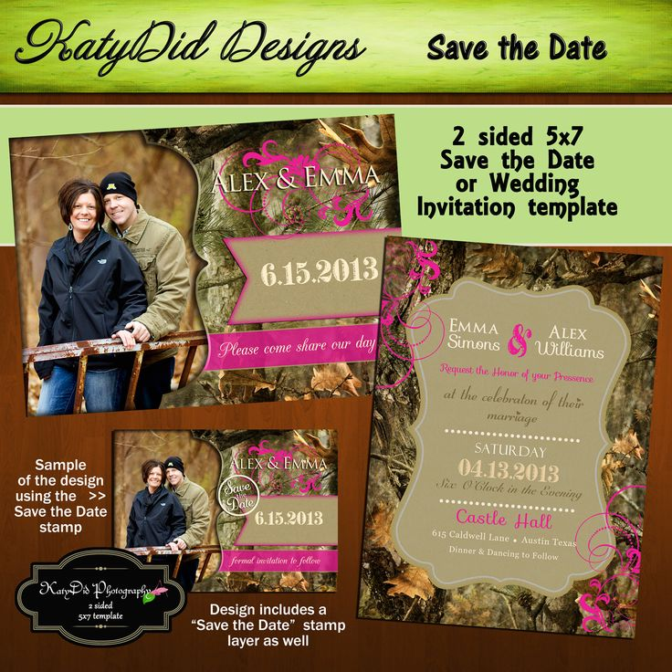 sample wording for save the date wedding cards%0A INSTANT DOWNLOAD Mossy Oak Camouflage  x  Wedding Invitation Save the Date  Template         via