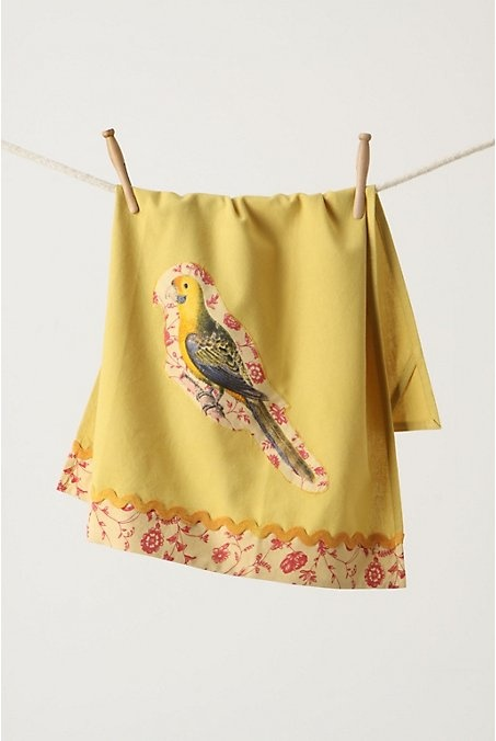 "Parrot Dishtowel. A tropical bird, perched amid an aura of flowers, enlivens golden-green cotton trimmed in rickrack.  Corner tab for hanging.  Cotton casement.  Machine wash.  28""L, 21""W   #770109  $18.00 Lime  http://www.anthropologie.com/anthro/catalog/productdetail.jsp?id=770109&catId=HOME-KITCHEN&pushId=HOME-KITCHEN&popId=HOME&navAction=top&navCount=2838&color=lim&isProduct=true&fromCategoryPage=true&subCategoryId=HOME-KITCHEN-DISHTOWELS-DISH"