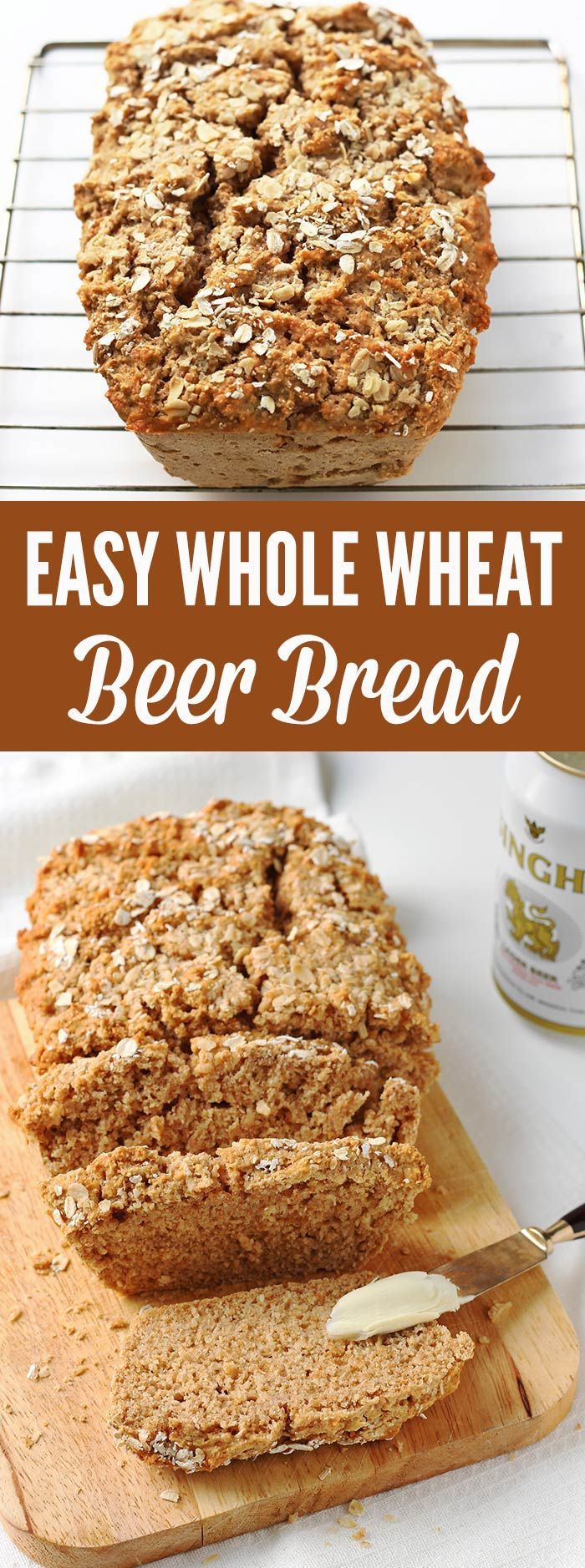 This easy whole wheat bread recipe make a wonderful loaf of crusty bread with minimal time and effort, thanks to a can of beer. NO rising and NO kneading required.