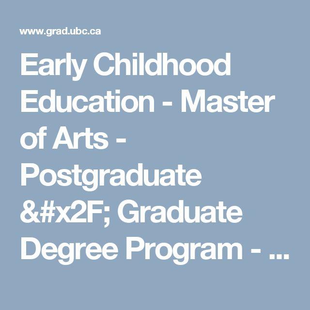 Early Childhood Education - Master of Arts - Postgraduate / Graduate Degree Program - UBC Grad School