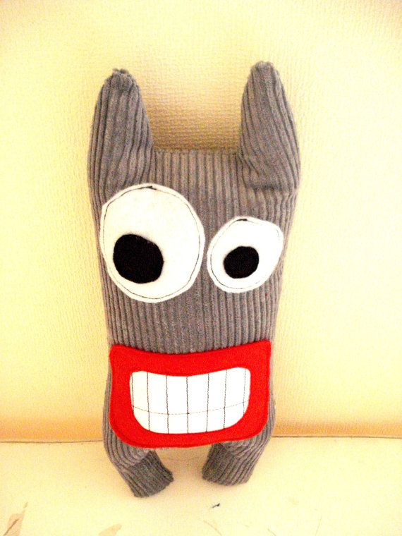 Monster Expressive Gray, stuffed, toys, plush toys, plushie on Etsy, $13.00