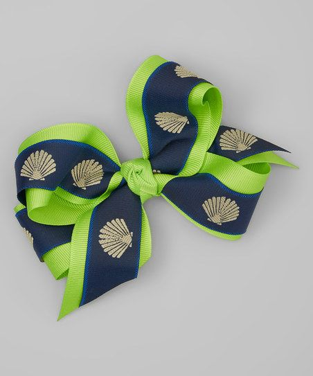 Picture Perfect Hair Bows Navy & Green Sea Shell Bow Hair Clip