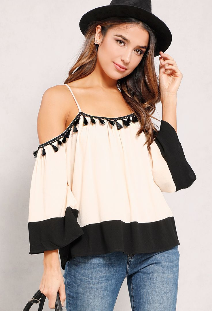 Pompom Open-Shoulder Top