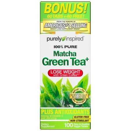 Purely Inspired Matcha Green Tea and Veggie Tablets Weight Loss Supplement 100% Pure 100ct