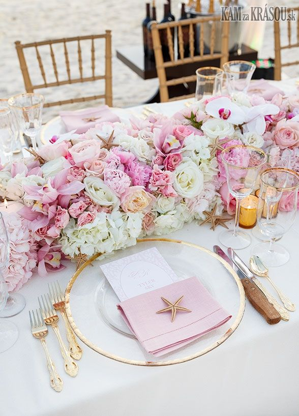 PInk Destination wedding centerpiece