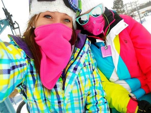 Snowboarding girls