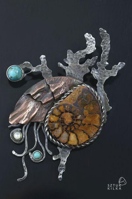 Silver / copper pendant and brooch (2in1) Przestwór Oceanu – broszko / wisior | Sztuk Kilka