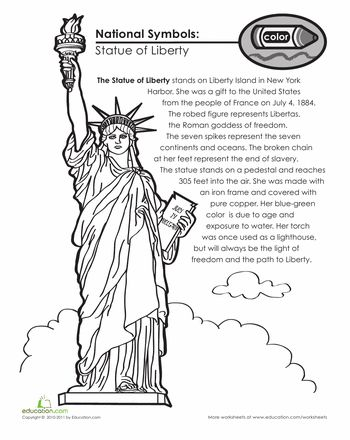 Worksheets: National Symbols: The Statue of Liberty