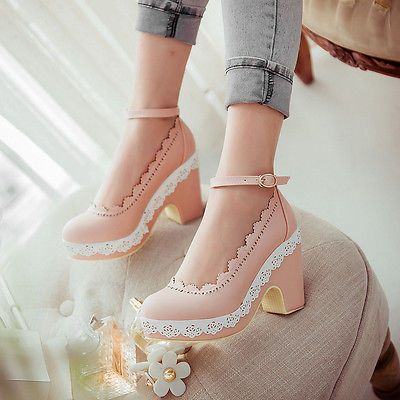 Sweet-womens-round-toe-floral-ankle-buckle-platform-mary-jane-block-heel-shoes