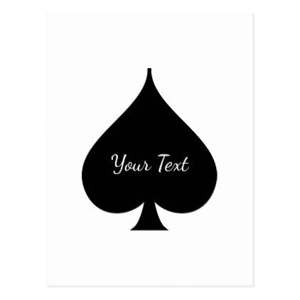Black Spade Symbol Post Card - black gifts unique cool diy customize personalize