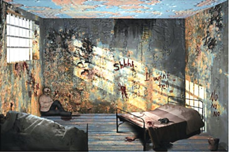 Details about 9 foot hospital insane asylum wall mural for Haunted house scene ideas