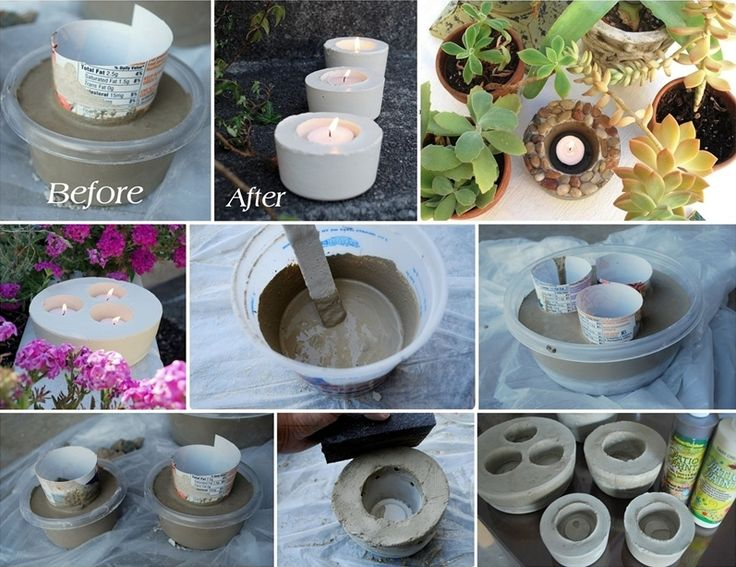 DIY Cement Candle Holders to Decorate Your Garden - http://www.amazinginteriordesign.com/diy-cement-candle-holders-decorate-garden/