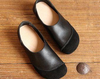 Zwarte handgemaakte schoenen, Oxford vrouwen schoenen, platte schoenen, Retro lederen schoenen, Casual schoenen, Slip Ons, instappers zeer comfortabele schoenen