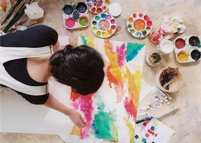 DIY colorful abstract canvas