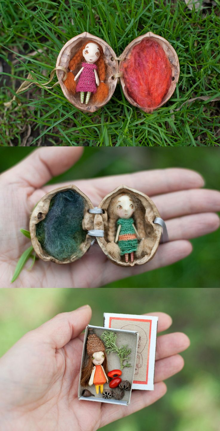 Adorable miniature wooden dolls in a nut