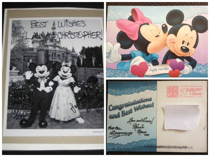 It used to be that if you sent a wedding invite to Mickey and Minnie you'd receive a autographed photo and Just Married button in reply. Not anymore. You now receive a cheap postcard reply like the one on the right and no button. Still cute. Their address is: Mickey & Minnie / The Walt Disney Company / 500 South Buena Vista Street / Burbank, California 91521