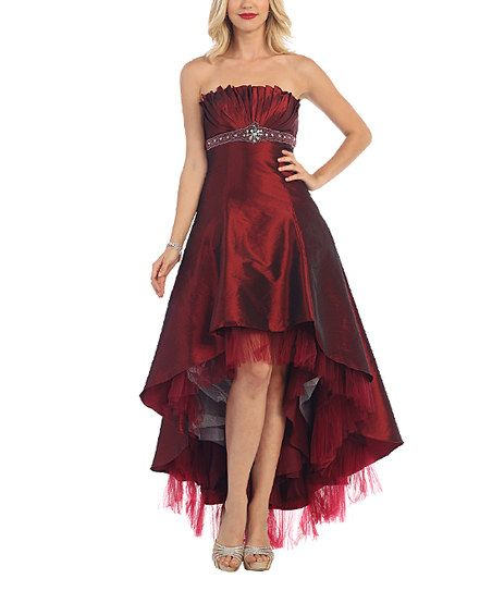 MayQueen Burgundy Pleated-Bodice Hi-Low Dress & Shawl | zulily