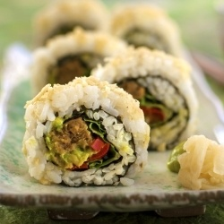 Vegan Sushi for Cinco de Mayo (Guaca-maki; Mexican fusion sushi).