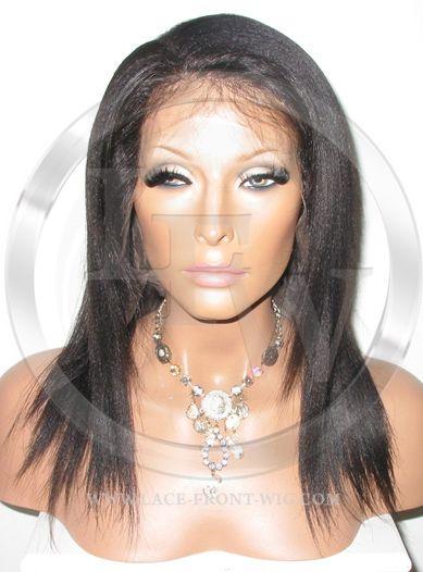 African American Yaki Human Hair Full Lace Wig Color 1b - 12 Inch