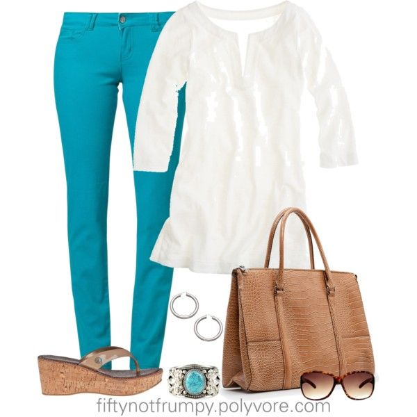 """Turquoise Jeans"" by fiftynotfrumpy on Polyvore"