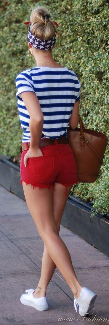 Old Navy Red Denim Women's Cutoffs by Fashion Addict