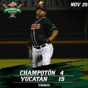 Mérida, Yucatán 25 de noviembre.- Los Leones de Yucatán sacaron las garras para vencer 15-4 a Rojos del Águila de Champotón y mantenerse en ...
