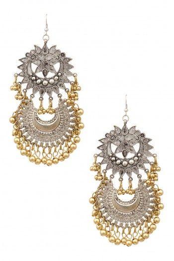 Ritika Sachdeva Silver Finish Floral Cutwork Crescent Gold Ghungroo Earrings #happyshopping #shopnow #ppus