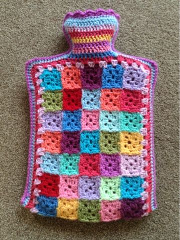 Tiny Grannie Squares Hot Water Bottle Cover made by Snaffles Mummy. Links to pattern in post. thanks so for share xox