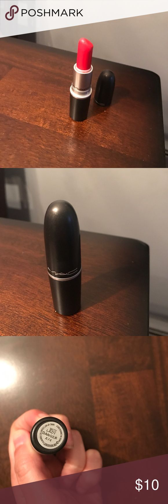 Mac lady danger lipstick Mac lipstick maybe used twice! lady danger color. Almost like new! MAC Cosmetics Makeup Lipstick