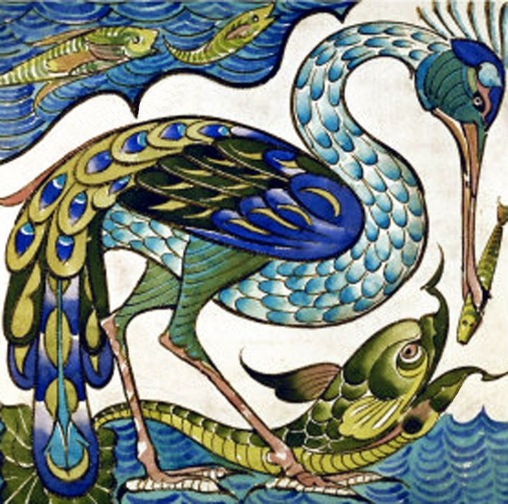 Peacock and Green Fish by Walter Crane 12 x 12 Needlepoint Canvas