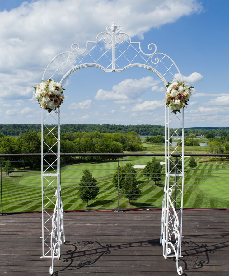 #archarrangement on location at Trump National Golf Course in Sterling, Virginia #weddingflowers #weddingarrangements