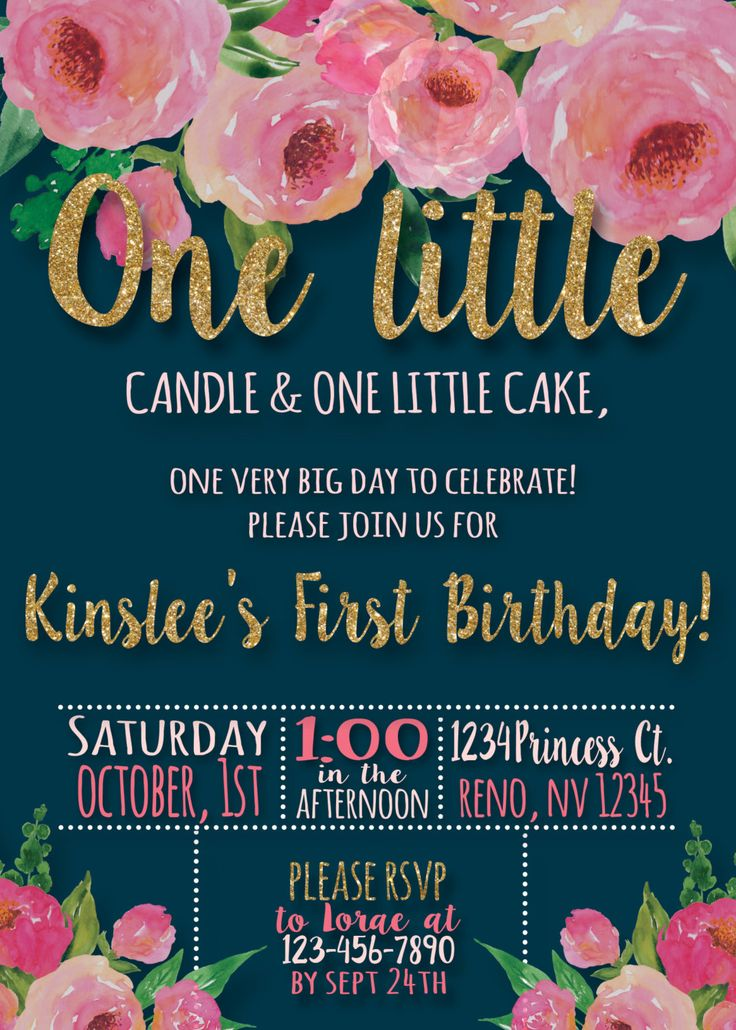 Navy Blue & Blush Floral First Birthday Invitation   Girls First Birthday Invitation   Floral Theme Birthday   One Year Old Birthday Invite Hey friend! Thanks a bunch for your interest in one of handmade digital printables. I truly hope its exactly what you wanted! This item is a personalized PRINTABLE, single-sided, either 4x6 or 5x7 invitation. You can either have the choice of printing it in the comfort of your home, or at any print/photo shop. All of my printables will be sent...