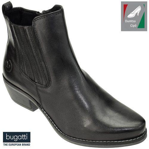 Bugatti női bőr bokacsizma 431-33834-4100-1000 fekete  4159f5196e