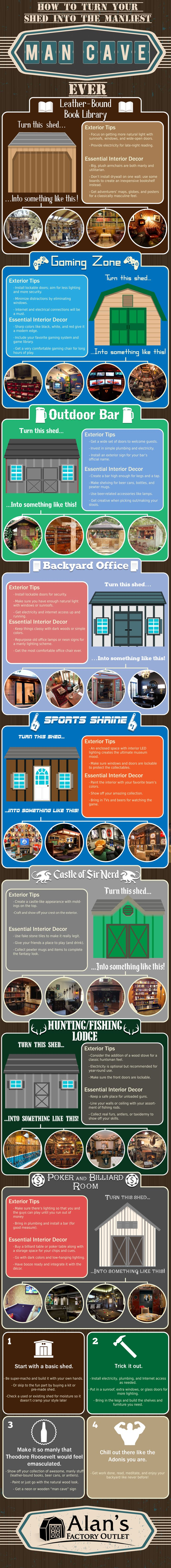 24 Best Diy Shed Garage Images On Pinterest Sheds Woodworking And How To Add Electric Power Easily An Outdoor Wire A Turn Your Into The Perfect Man Cave Infographic
