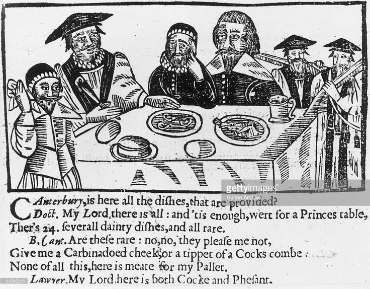 Circa 1635, A contemporary cartoon showing the Archbishop of Canterbury, William Laud (1573 - 1645) at the dining table with a doctor and a lawyer. The inscription refers to the Archbishop choosing a meal of the ears of Puritans in preference to food fit for a prince