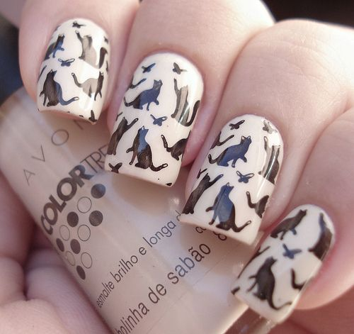 kitty nails    I so want my nails to look like this...soo coooool: Kitty Cat, Nails Design, Nails Polish, Carriage Dogs, Cat Nails, Nails Art Design, Crazy Cat Lady, Cat Lovers, Black Cat